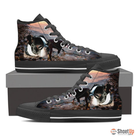 Boston Terrier Dog Women Canvas High Tops- Free Shipping