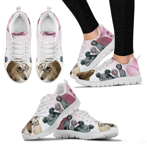 Afghan Hound Pink White Print Running Shoes For Women-Free Shipping
