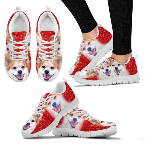 Customized Dog On Red Print Sneakers For Women-Designed By Sandy Hunter-Express Shipping
