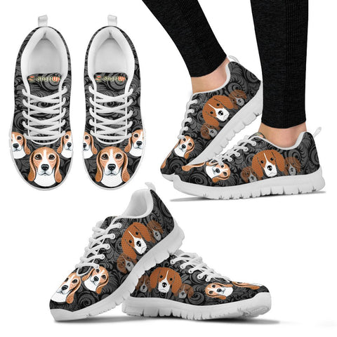 Beagle On Black-Women's  Running Shoes - Free Shipping