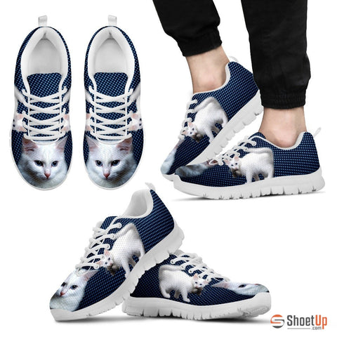 White Turkish Angora Cat Print Running Shoes - Free Shipping