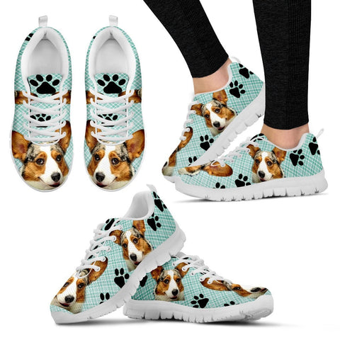 Corgi Dog Print-(Black/White) Running Shoes For Women-Express Shipping-Designed By Christina Jensen