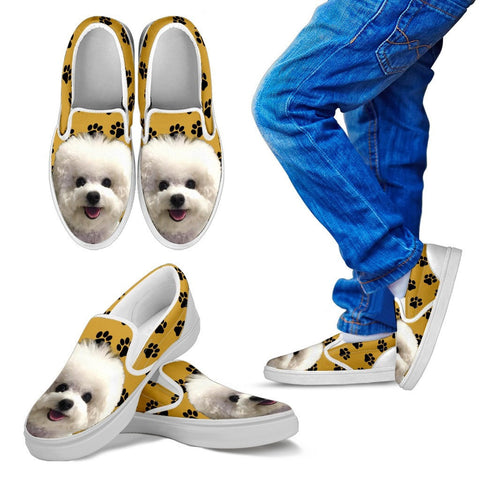 Bichon Frise Dog Kids  Slip On - Free Shipping