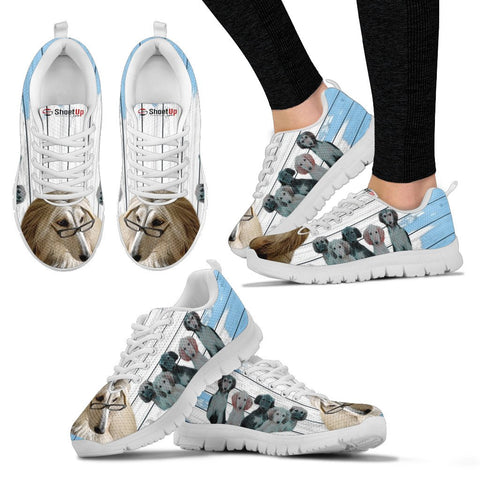 Afghan Hound With Puppies Blue White Print Sneakers For Women-Free Shipping