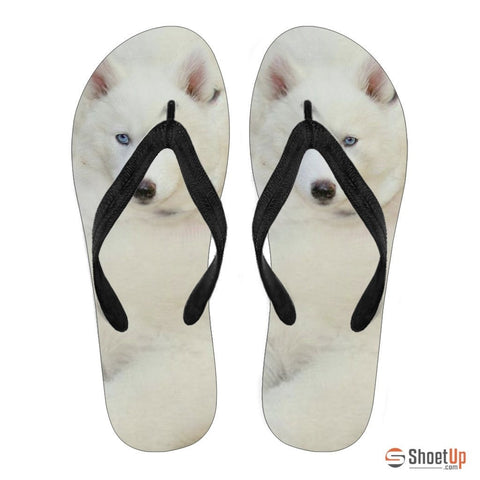 White Husky Puppy Men Flip Flops - Free Shipping