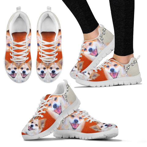 Customized Dog Print Sneakers For Women- Design By Sandy Hunter-Express Shipping