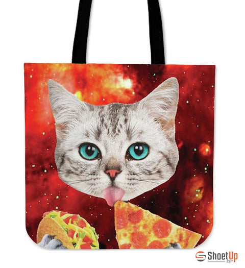 Cat Eat Pizza Tote Bag- Free Shipping