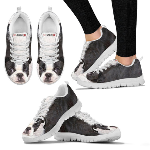 Shoetup - Boston Terrier Black White Print Running Shoes For Women