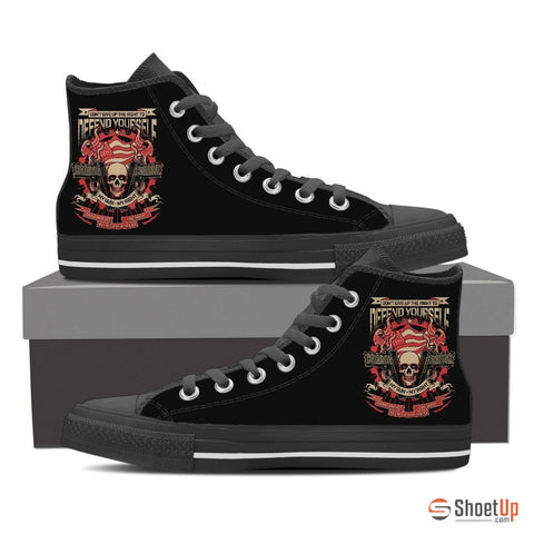 Defend Yourself- Men's Canvas High Tops- Free Shipping