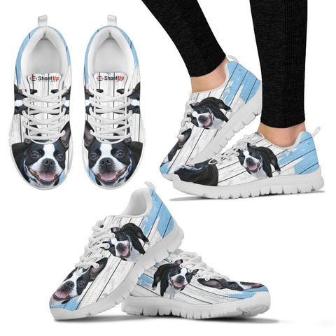 Shoetup - Boston Terrier Blue White Print Sneakers For Women