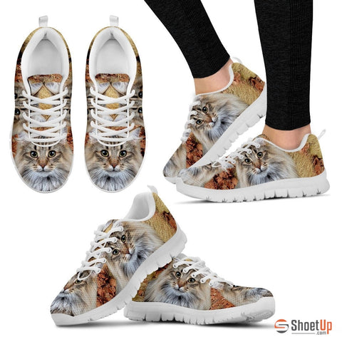 Norwegian Forest Cat Print (White/Black) Running Shoes - Free Shipping