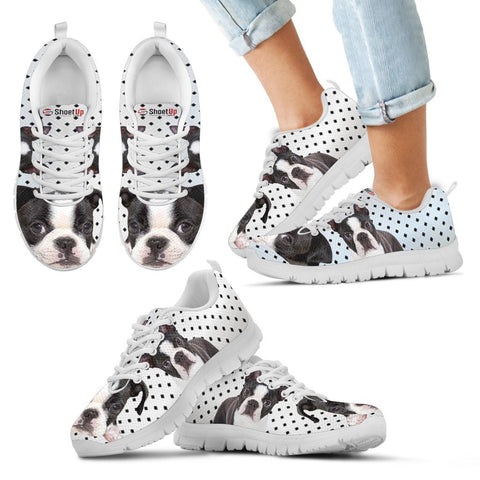 Boston Terrier Black Dots Kid's Running Shoes - Free Shipping