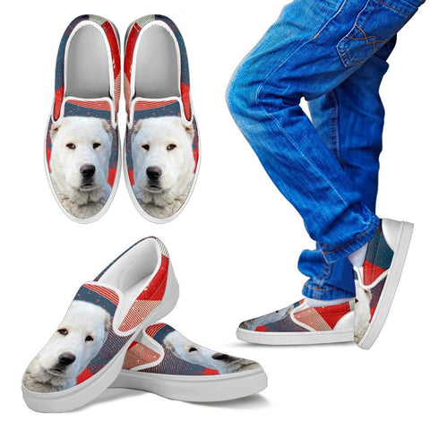 Central Asian Shepherd Dog Print Slip Ons For Kids- Express Shipping