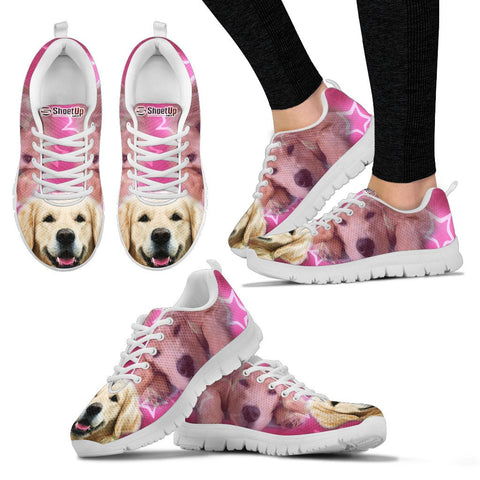Golden Retriever On Pink Print Running Shoes For Women- Free Shipping