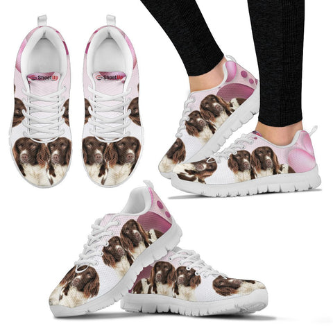 Shoetup - English Springer Spaniel Pink White Print Running Shoes For Women