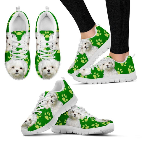 Paws Print Maltese (Black/White) Running Shoes For Women-Express Delivery
