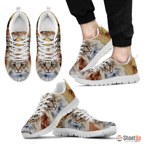 Norwegian Forest Cat Print (White/Black) Running Shoes For Men-Free Shipping