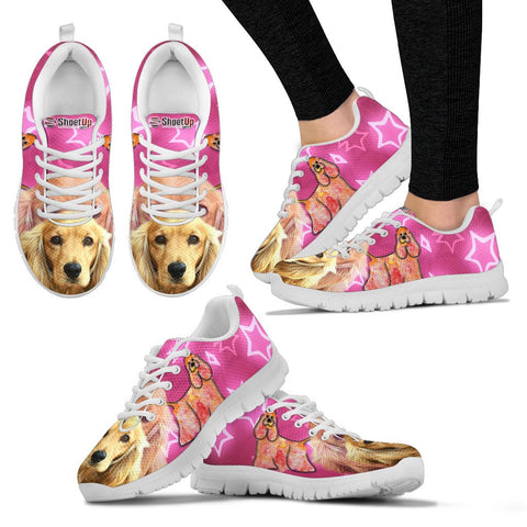 Cocker Spaniel On Pink Women Running Shoes - Free Shipping