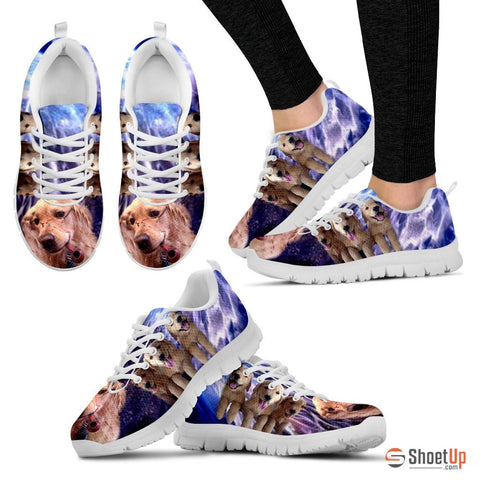 Golden Retriever With Glass Print Running Shoes - Free Shipping
