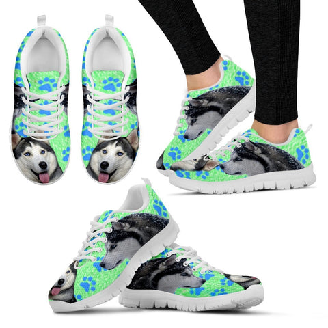 Siberian Husky Paws Print (Black/White) Running Shoes - Free Shipping