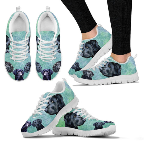 Shoetup - Black Labrador Painting Print Running Shoes For Women