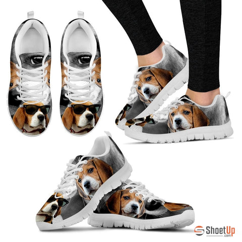 Beagle Dog With Glasses Print Running Shoe (Women)- Free Shipping