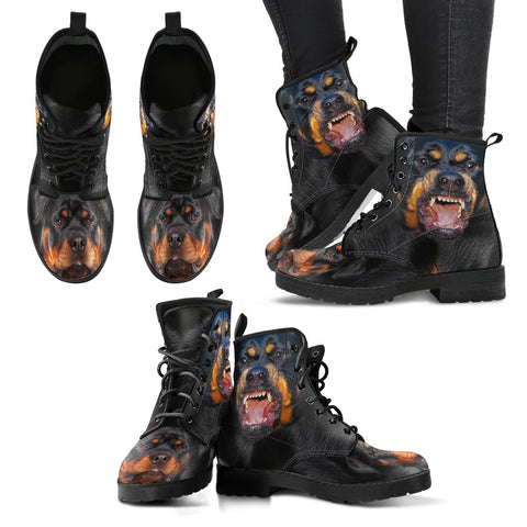 Rottweiler On Black Women Suede Fashion Boots- Free Shipping