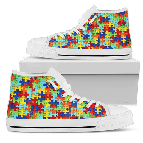 Autism Symbol High Top Canvas Shoes For Women- Free Shipping