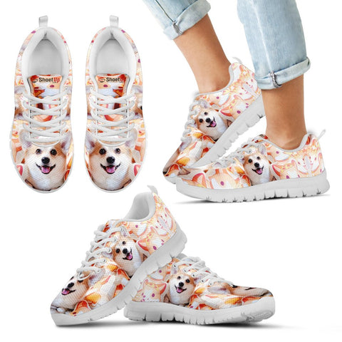 Pembroke Welsh Corgi Happy Halloween Print Running Shoes For Kids/Women-Free Shipping