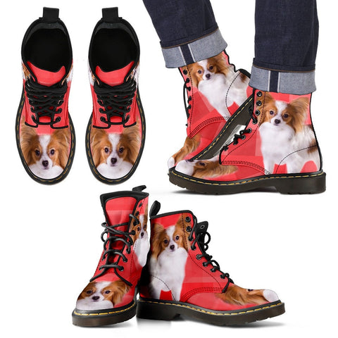 Papillon Dog Print Boots For Men-Express Shipping
