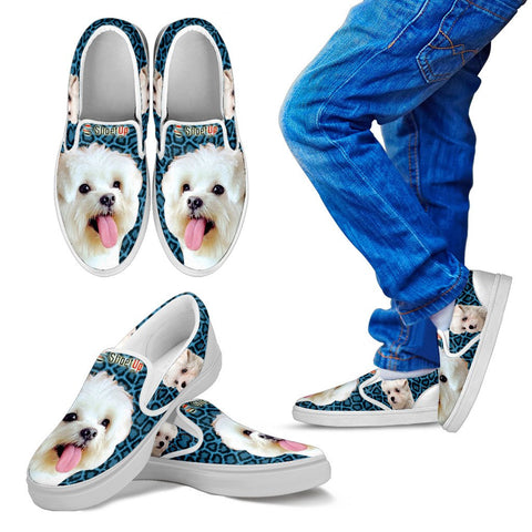 Cute Maltese -Kid's Slip Ons-Free Shipping