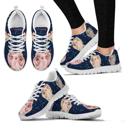Shoetup - Cute Yorkshire Terrier Blue Print Running Shoes For Women