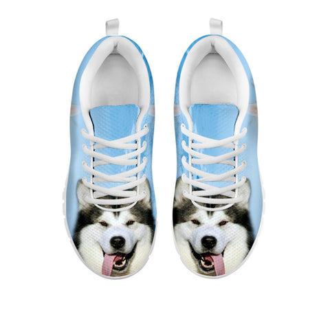 Shoetup - Laughing Alaskan Malamute Print Sneakers For Women