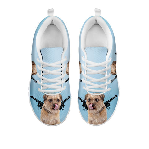 Two Guns With Border Terrier Women Running Shoes-Free Shipping