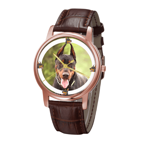 Doberman Pinscher Unisex Rose Gold Wrist Watch- Free Shipping