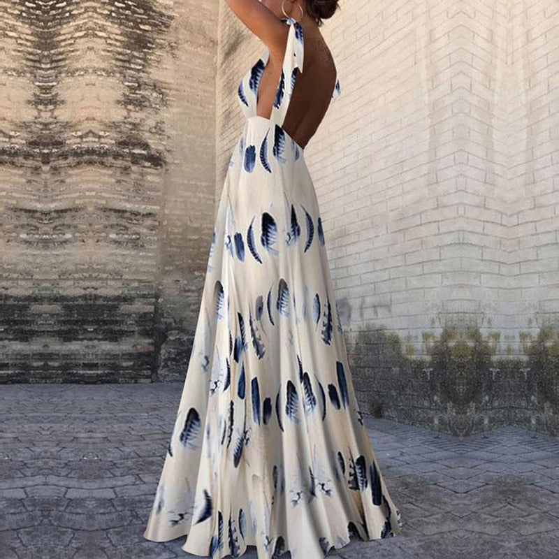 Sleeveless backless summer long dress