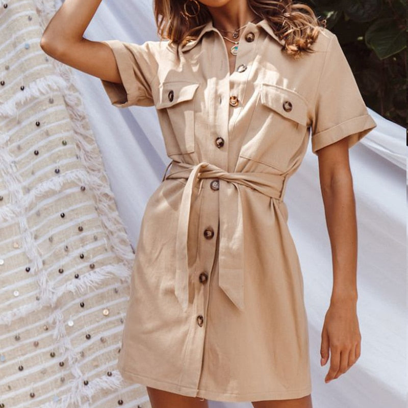 Vintage button women Casual summer dress