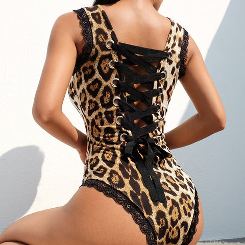 Leopard Backless Jumpsuits