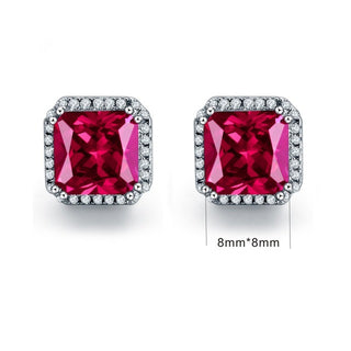 JQUEEN Ruby Red Earrings Princess Cut - Get It 4 Me