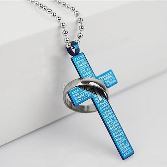 Christian Bible Prayer Cross Pendant