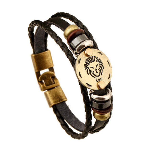Bronze Alloy Buckles Zodiac Signs Bracelet Punk Leather Bracelet