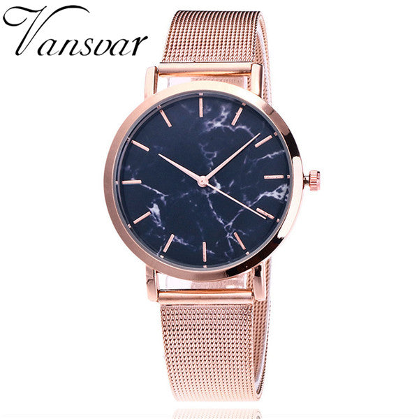 Marble Women Wrist Watch Stainless Steel Fashion Band