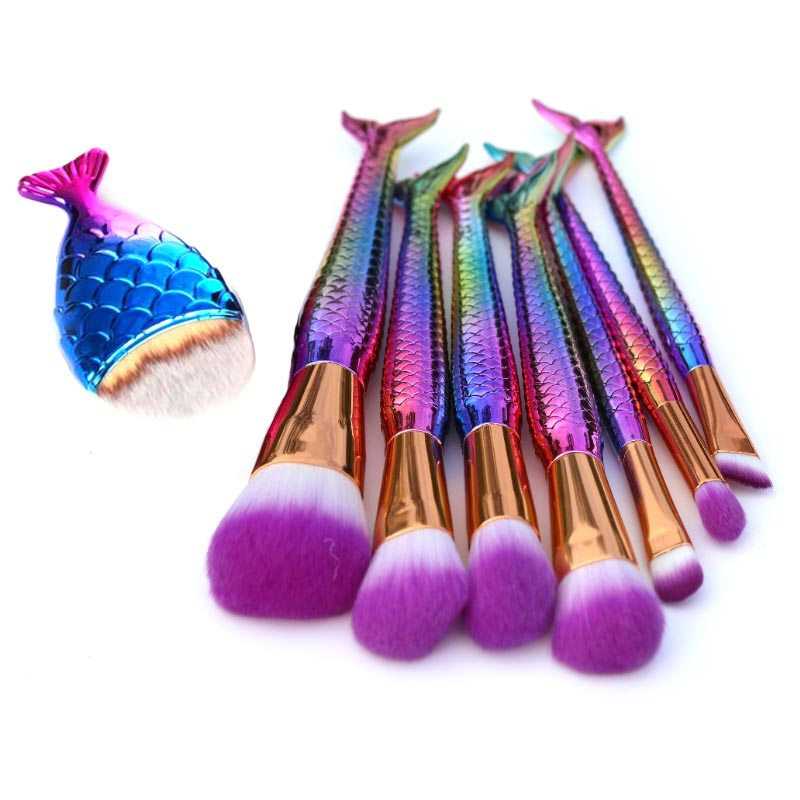 8Pcs Mermaid Shaped Makeup Brush Set