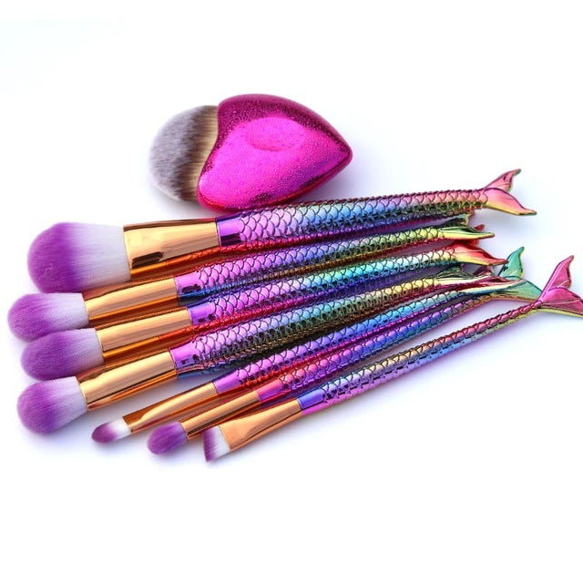 Mermaid Shaped Makeup Brush Set
