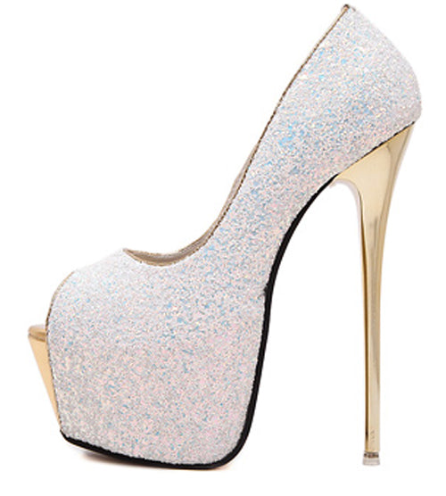 Sexy bling peep toe high heels