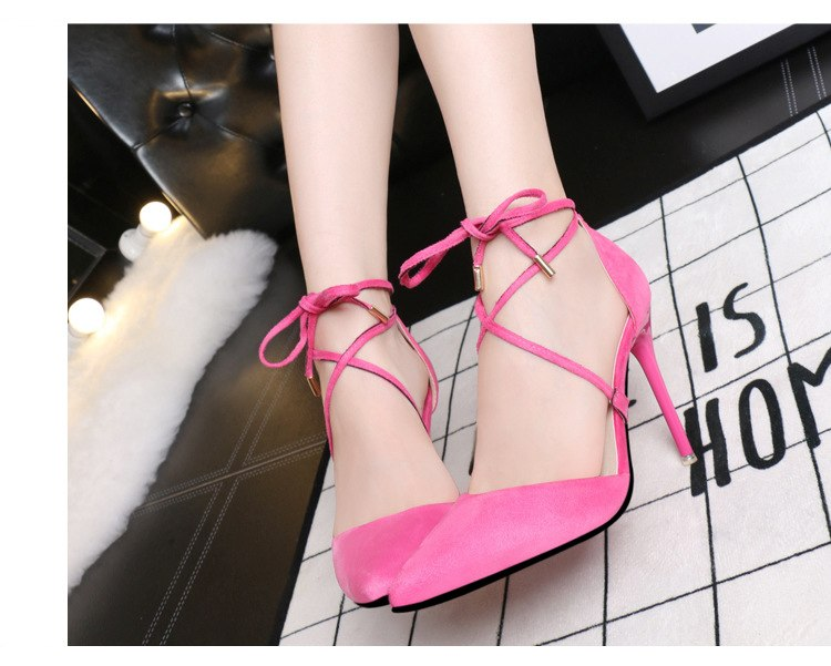 Suede pointed cross straps bow high heels
