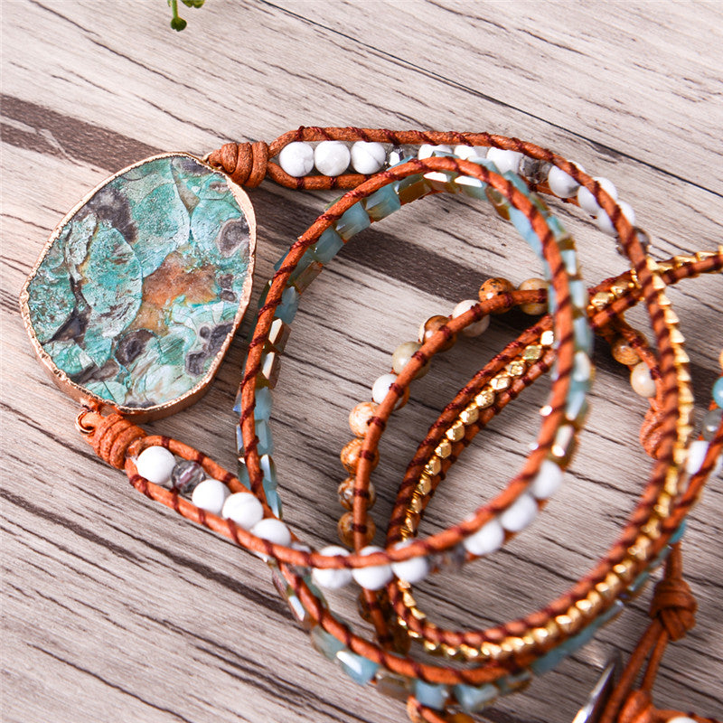 Leather Wrap Beaded Boho Bracelet