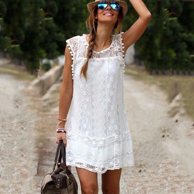 UZZDSS WOMEN SUMMER DRESS CASUAL BEACH SHORT DRESS TASSEL BLACK WHITE MINI LACE DRESS