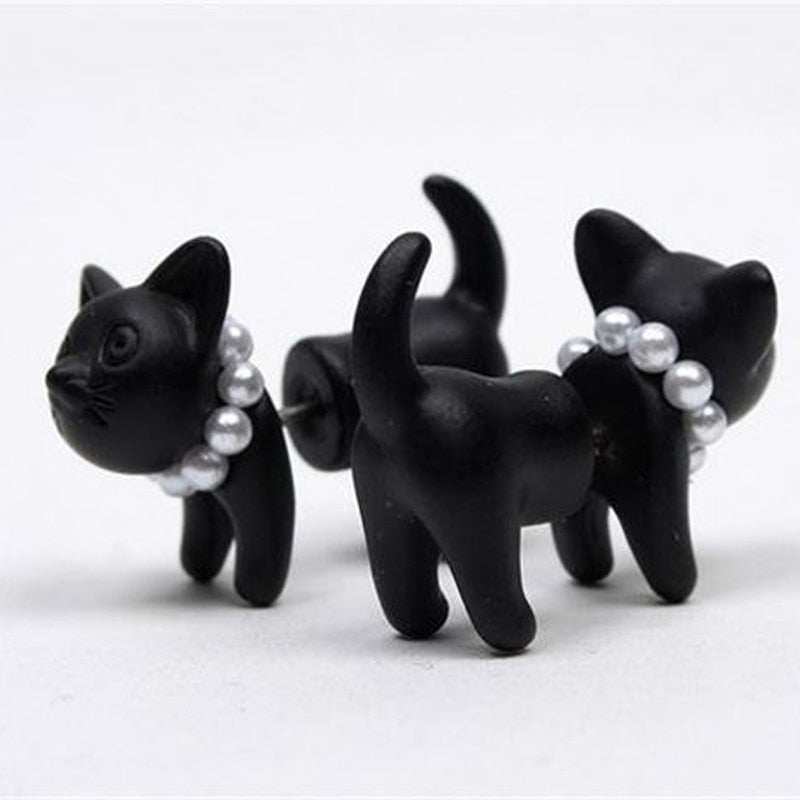 3D Cute Cat Stud Earrings
