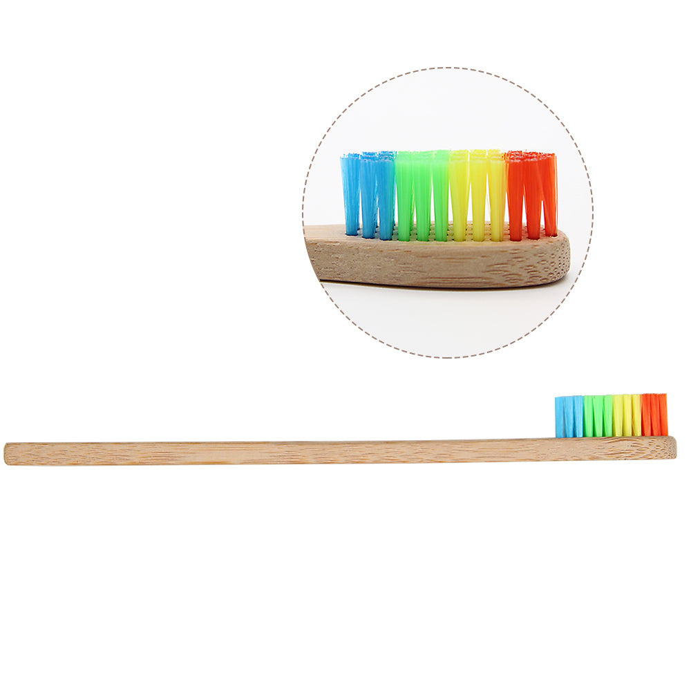 Rainbow Head Bamboo Toothbrush